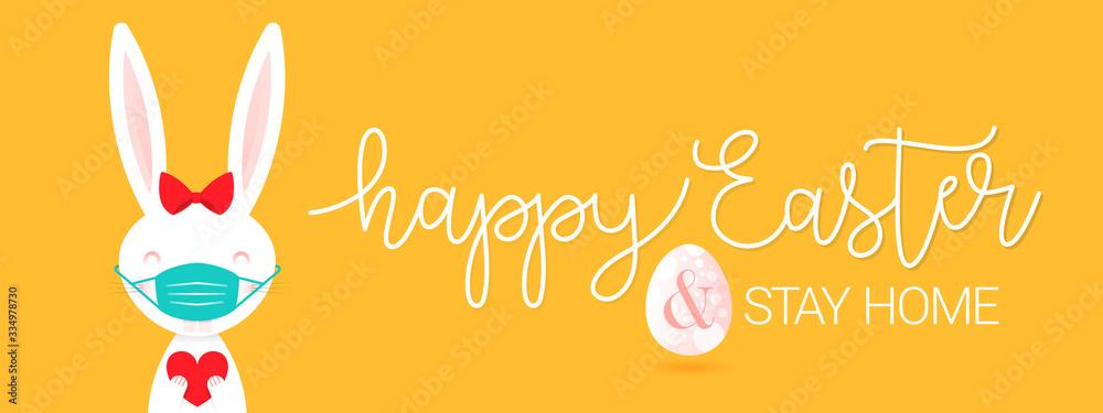Fototapeta Happy Easter. Quarantine at home