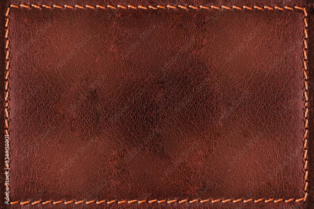 Fototapeta Red leather background with seams