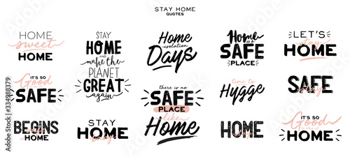 Set of hand lettering with Coronavirus messages for stay home Wallpaper Mural