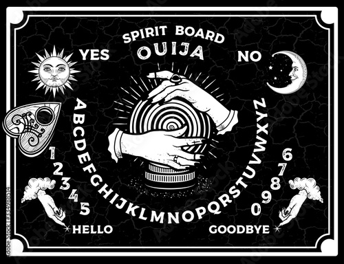 Fototapeta Ouija Boards. Occultism Set. Voices from the Other World.