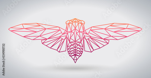 Hipster polygonal animal butterfly or cicada.Triangle animal.