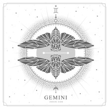 Modern Magic Witchcraft Card With Polygon Astrology Gemini Zodiac Sign. Polygonal Butterfly Or Cicada Illustration