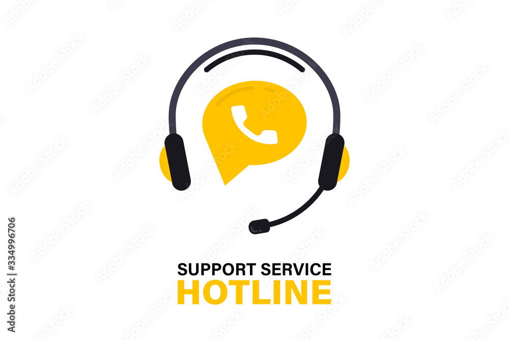 Fototapeta Hotline support service with headphones. Call center, hotline concept of client network for ecommerce and user consultation. Customer Support, Consultation, consultant, secretary. Support service Icon