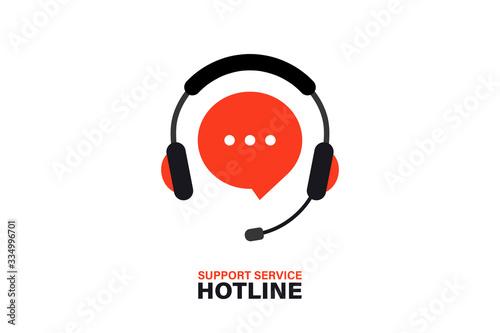 Obraz na plátně Hotline support service with headphones