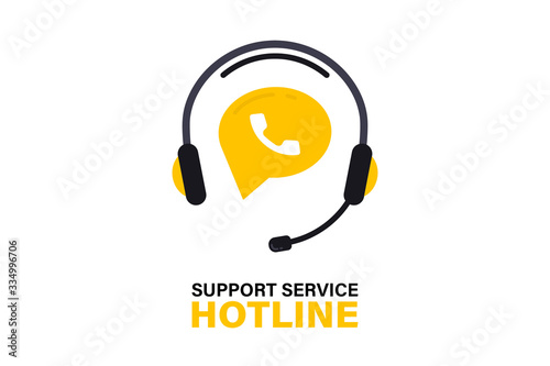 Obraz na płótnie Hotline support service with headphones