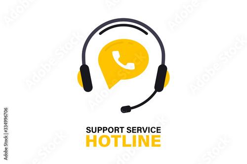 Carta da parati Hotline support service with headphones