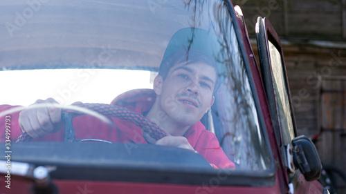 driver peeps through the windshield Canvas Print