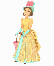 Beautiful Woman In Lod Fashioned Dress