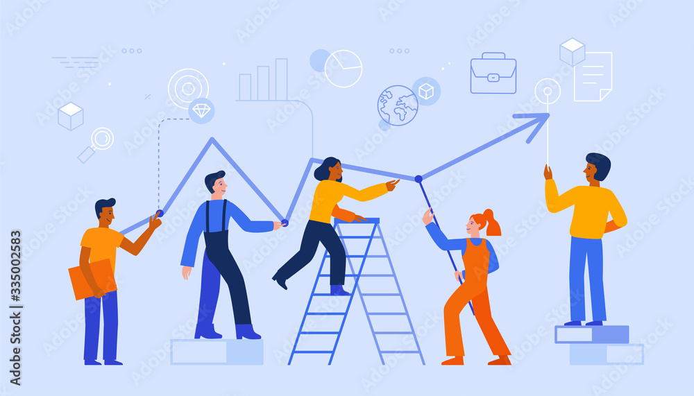 Fototapeta Vector illustration in trendy flat and linear style - teamwork and business growth concept - people constructing graphics