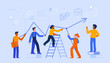 Vector illustration in trendy flat and linear style - teamwork and business growth concept - people constructing graphics