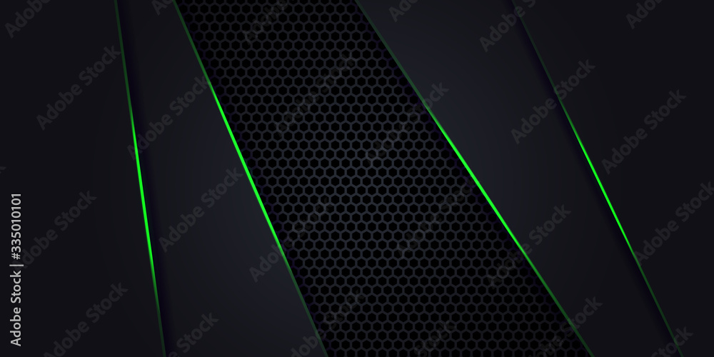 Fototapeta Dark abstract background with Hexagon carbon fiber. Technology background with green luminous lines. Futuristic luxury modern backdrop.