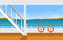 Sea Ocean Landscape Lifebuoy Save Rescue On Cruise Ship Deck Illustration