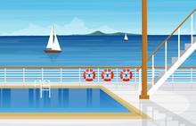 Sea Ocean Landscape Swimming Pool On Cruise Ship Deck Illustration