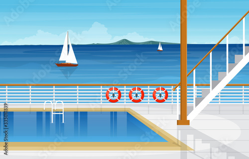 Fotografie, Obraz Sea Ocean Landscape Swimming Pool on Cruise Ship Deck Illustration