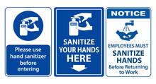 Set Of Mandatory Sign Or Warni...