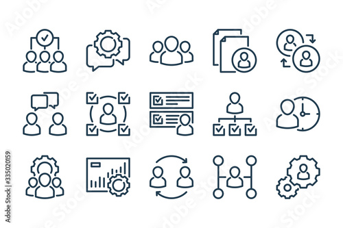 Human resources related line icon set Wallpaper Mural