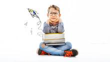 Preschooler With Books Ready For School - Big Dream For The Future