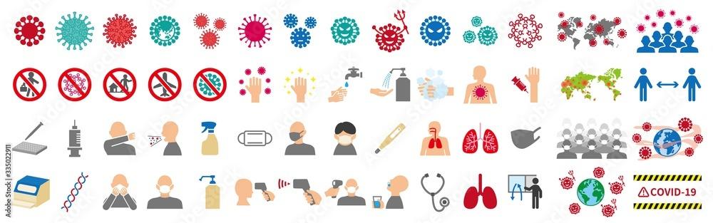 Fototapeta 新型ウイルスに関連したアイコンセット