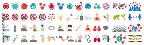 Obraz 新型ウイルスに関連したアイコンセット - fototapety do salonu