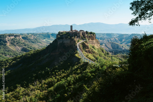 Fototapeta Sunrise view of Civita di Bagnoregio - Ancient town in Italy