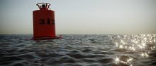 3D Render Of Buoy On Wavy Sea ...