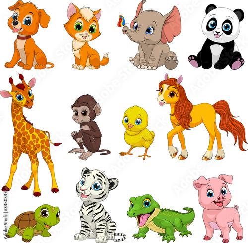 Funny animals set Canvas Print