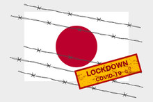Japan Flag With Signboard Lockdown Warning Security Due To Coronavirus Crisis Covid-19 Disease Design With Barb Wired Isolate Vector