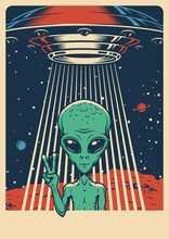 Space Colorful Vintage Poster