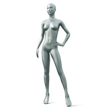 Female Mannequin Of Silver Color Isolated On White Background. Vector Illustration