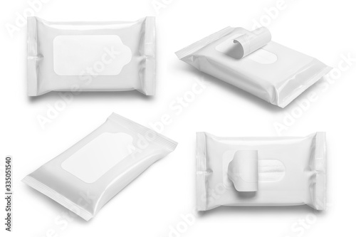 Tela Collection of white wet wipes flow packs, isolated on white background