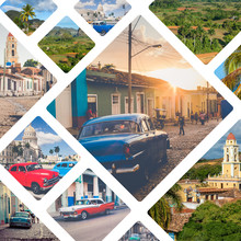 Collage Of Popular Tourist Destinations In Cuba. Travel Background.