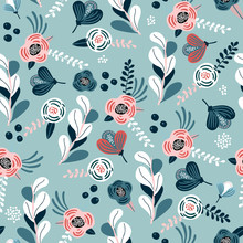 Seamless Pattern With Eucalyptus Branches, Flowers, Berries And Leaves. Creative Flower Texture. Great For Fabric, Textile Vector Illustration.
