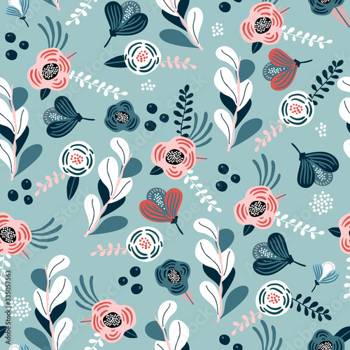 Seamless pattern with eucalyptus branches, flowers, berries and leaves Fototapeta