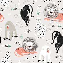 Seamless Jungle Pattern With A...