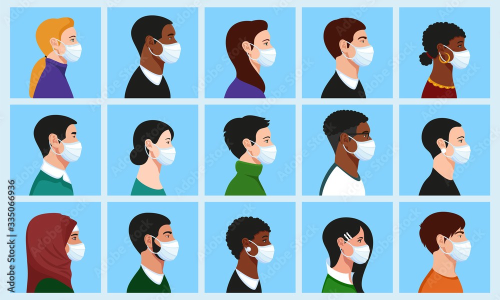 Fototapeta Full Face Under Mask Vector: Stylish beautiful men and women with medical face mask profile portrait avatar set: Asian, African, European, Muslim, American, Mature, Young, Religious.