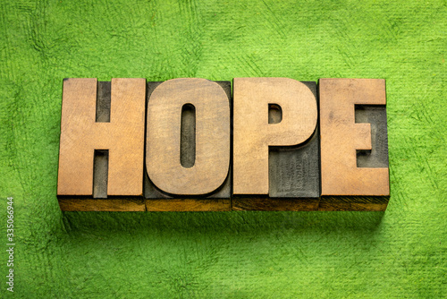 hope word in vintage wood type Canvas Print