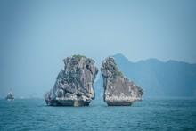 Beautiful Shot Of Kissing Rocks At Ha Long Bay In Vietnam