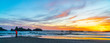 canvas print picture - sunset on beach