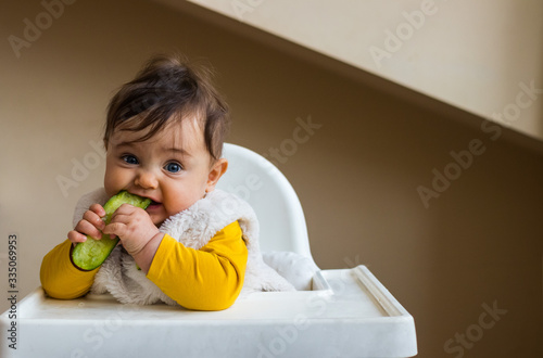 Fototapeta Healthy cute caucasian baby boy have, eat vegan raw supplementary food at home in his highchair. Vegan infant concept. obraz