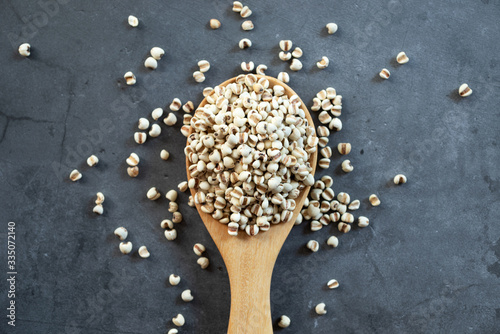 white Job's tears ( Adlay millet or pearl millet ) in wooden spoon on dark cement background, top view image Canvas-taulu