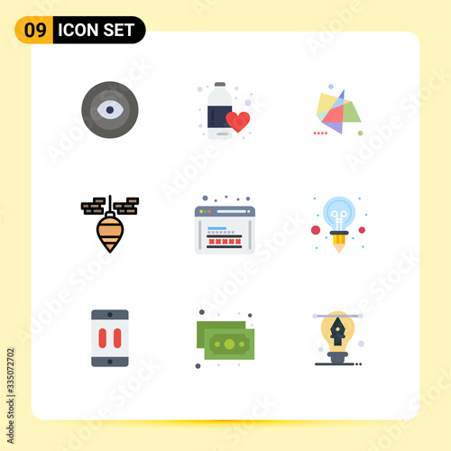 Cuadros en Lienzo Stock Vector Icon Pack of 9 Line Signs and Symbols for tool, bob, love, plumb, m