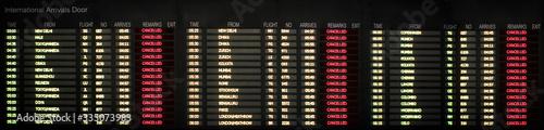 Fotografiet Flight departure board. Cancelled and delayed flights