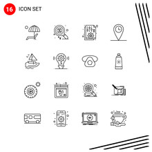 Mobile Interface Outline Set Of 16 Pictograms Of Boat, Location, Money, Geo, Options