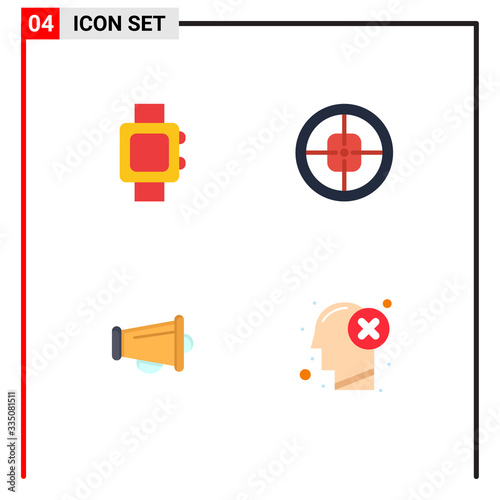 Stock Vector Icon Pack of 4 Line Signs and Symbols for hand watch, announce, arm Wallpaper Mural
