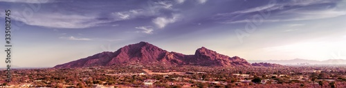 Fototapeta Scottsdale, Phoenix Arizona,Large scale extra wide high detail view of the Valley of the Sun with Camelback Mountain as focal point on a warm beautiful sunny Spring afternoon. obraz
