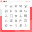 Editable Vector Line Pack of 25 Simple Lines of paint bucket, bucket, camera, cpu, computing
