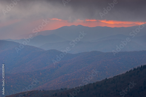 Landscape of sunbeams and Great Smoky Mountains near sunset from Clingman's Dome, Great Smoky Mountains National Park, North Carolina, USA