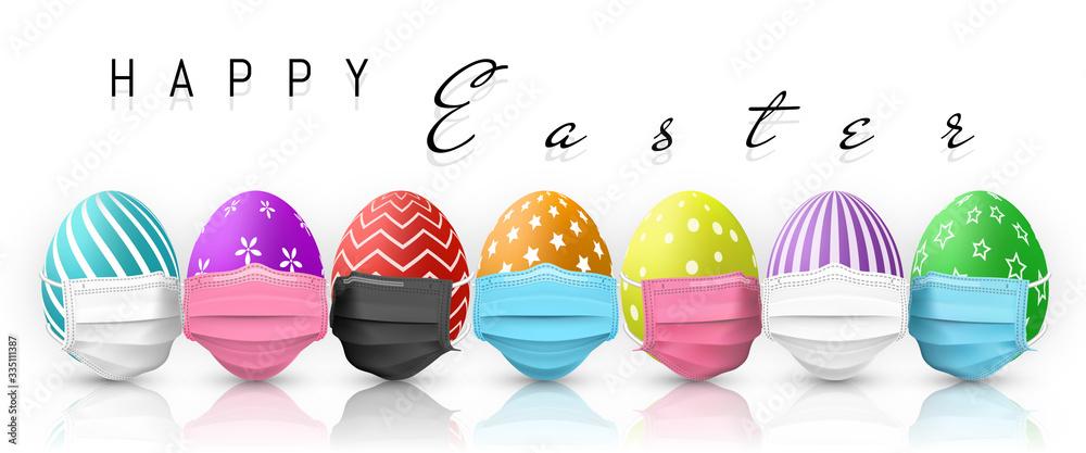 Fototapeta Happy Easter. Color Easter egg in medical face mask on white background. Vector illustration