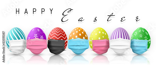 Obraz Happy Easter. Color Easter egg in medical face mask on white background. Vector illustration - fototapety do salonu