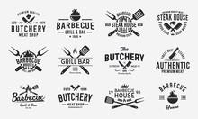 Vintage Logo Set For Meat Restaurants. Hipster Barbecue Emblems. Restaurant Labels, Emblems, Logo. Logo Template For Bbq. Steakhouse, Butcher, Grill Bar. Vector Illustration